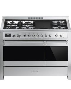 Smeg A3-81 120cm Opera Stainless Steel and Eclipse Glass Dual Cavity Dual Fuel Range Cooker