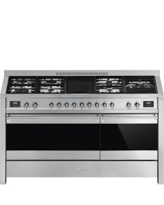 Smeg A5-81 150cm Opera Stainless Steel and Eclipse Black Glass Dual Fuel Range Cooker