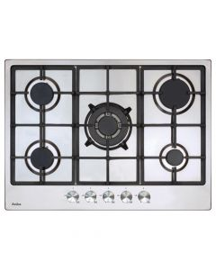 Amica AGH7100SS 70cm gas hob, 5 burners inc wok burner ,  cast iron pan supports, front control LPG jets included, black glass Gas Hob