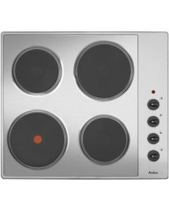 Amica AHE6000SS 60cm 4 plate electric hob, 1 rapid plate, side controls, stainless
