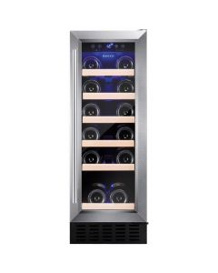 Amica AWC300SS 30 cm freestanding wine cooler, 19 bottle capacity, electronic temp control 5-20, stainless steel frame Wine cooler