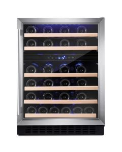Amica AWC600SS 60 cm freestanding wine cooler, 46 bottle capacity, dual electronic temp controlled zones 5-20, stainless steel frame Wine cooler