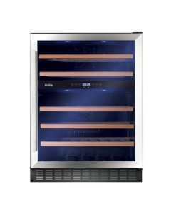 Amica AWC601SS 60 cm fs wine cooler, 45 bot cap, dual temp, stainless steel frame, blue LED