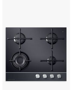 Fisher & Paykel CG604DNGGB1 60cm Wide Gas-on-Glass 4 Burner Gas Hob