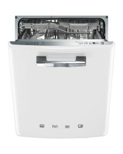 Smeg DI6FABWH 60cm 50s Style White Built-in Dishwasher with 13 place settings and FlexiDuo Baskets