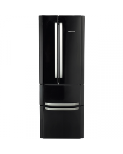 Hotpoint FFU4DK - American Fridge Freezer Freestanding in Black