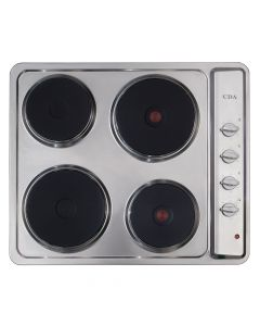 CDA HE6052SS 4 solid plate electric hob, Side control, 6 power levels