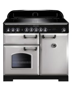 Rangemaster - 100cm Classic Deluxe Induction Range 100640 Royal Pearl and Chrome