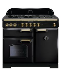 Rangemaster - 100cm Classic Deluxe Induction Range 115570 Black and Brass