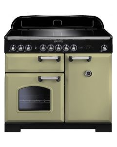 Rangemaster - 100cm Classic Deluxe Induction Range 100920 Olive Green and Chrome