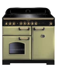 Rangemaster - 100cm Classic Deluxe Induction Range 114830 Olive Green and Brass
