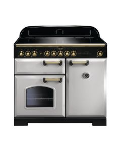 Rangemaster - 100cm Classic Deluxe Induction Range 114840 Royal Pearl and Brass