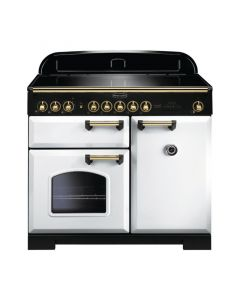 Rangemaster - 100cm Classic Deluxe Induction Range 114040 White and Brass