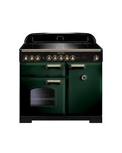 Rangemaster - 100cm Classic Deluxe Induction Range 114000 Green and Brass