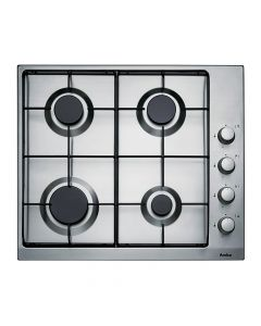 Amica PGX6610 60cm 4 burners , enamelled pan supports, side controls, LPG jets included, stainless Gas Hob
