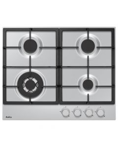 Amica PGZ6412 60cm 3 burners & 1 wok burner , cast iron pan supports, front controls, LPG jets included, stainless Gas Hob