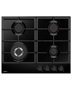 Amica PGZ6412B 60cm 3 burners & 1 wok burner , cast iron pan supports, front controls, LPG jets included, black Gas Hob