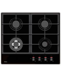 Amica PHCZ6512 60cm 3 burners & 1 wok burner , cast iron pan supports, front controls, LPG jets included, black glass Gas Hob