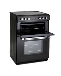 Montpellier 60cm Ceramic Mini Range Cooker Black With Double Oven