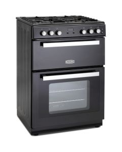 Montpellier 60cm Gas Mini Range Cooker in Black - Cast Iron Double Oven