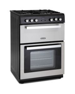 Montpellier 60cm Gas Mini Range Cooker in S/Steel Cast Iron Double Oven