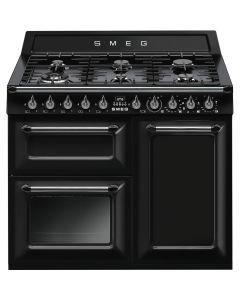 Smeg TR103BL 100cm Victoria Gloss Black Three Cavity Dual Fuel Traditional Cooker with Side Opening