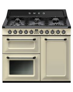 Smeg TR103P 100cm Victoria Gloss Cream Three Cavity Dual Fuel Traditional Cooker with Side Opening