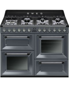 Smeg TR4110GR 110cm Slate Grey Four Cavity Dual Fuel Traditional Cooker with SideOpening Ovens