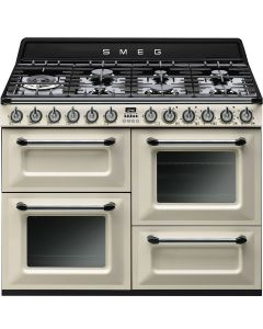 Smeg TR4110P1 110cm Victoria Gloss Cream Four Cavity Dual Fuel Traditional Cooker with Side Opening