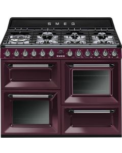 Smeg TR4110RW1 110cm Victoria Red Wine Four Cavity Dual Fuel Traditional Cooker with Side Opening Ovens