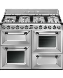 Smeg TR4110X 110cm Victoria Stainless Steel Four Cavity Dual Fuel Traditional Cooker with Side Opening