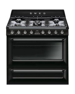Smeg TR90BL9 90cm Victoria Gloss Black Single Cavity Dual Fuel Traditional Cooker