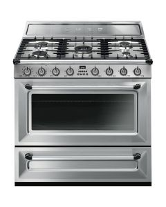 Smeg TR90X9 90cm Victoria Stainless Steel Single Cavity Dual Fuel Traditional Cooker