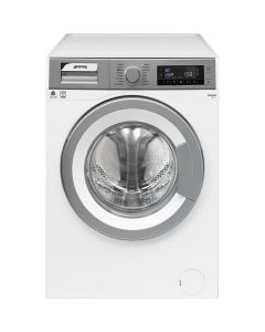 Smeg WHT914LSIN 60cm White with Silver Facia Freestanding Washing Machine 9kg - A+++B rated